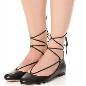 DVF Paris Black Lace Up Flats in Box. Worn Once